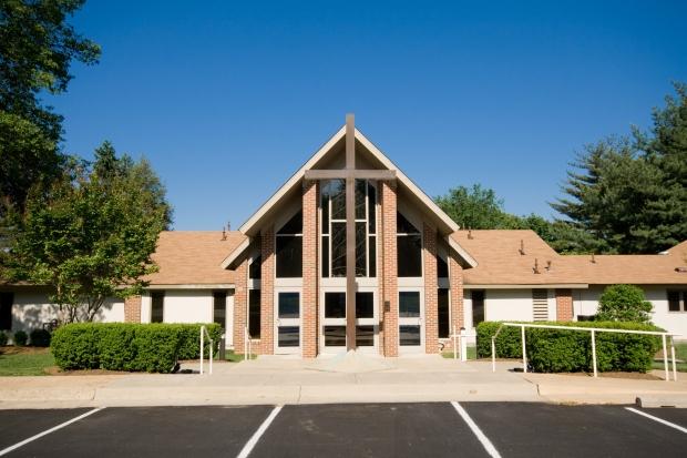 Exterior Modern Church A-Frame Gabled Roof, Metal Cross